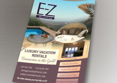 Flyer for EZ Israel Vacation Apartments